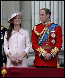 Prince William and the Duchess of Cambridge join HM The Queen with members of the Royal Family to watch the fly past  on the Balcony of Buckingham Palace during Trooping The Colour, London, United Kingdom,<br /> Saturday, 15th June 2013<br /> Picture by Andrew Parsons / i-Images