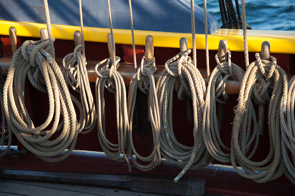 United States, Washington, Kirkland, lines coiled on tall ship