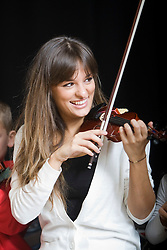 Scottish violinist Nicola Benedetti gave a series of musical masterclasses to the children of Raploch's Big Noise orchestra today..Pic ©2010 Michael Schofield. All Rights Reserved.