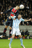 FOOTBALL - UEFA EUROPA LEAGUE 2011/2012 - GROUP STAGE - GROUP F - PARIS SAINT GERMAIN v SLOVAN BRATISLAVA - 3/11/2011 - PHOTO JEAN MARIE HERVIO / DPPI - MEVLUT ERDING (PSG) / IVO TABORSKY (BRA)