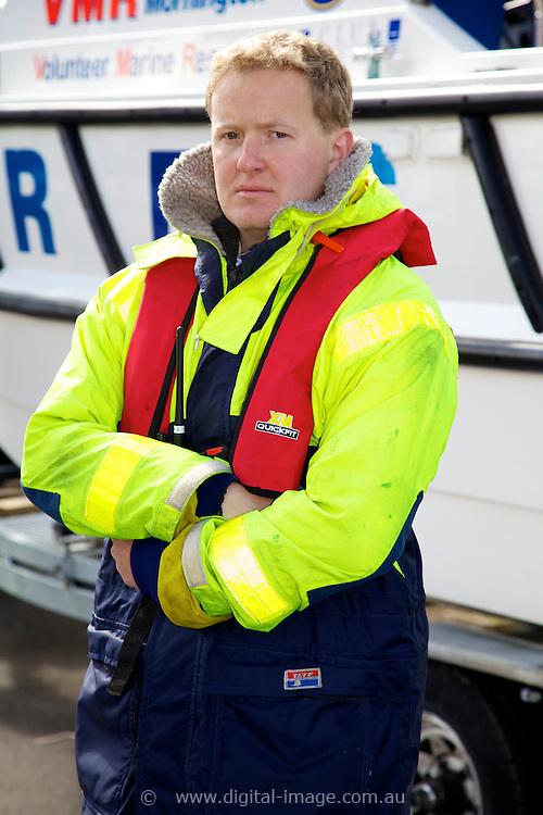 Mornington Volunteer Marine Rescue  , Tristan McLean, wearing safety equipment