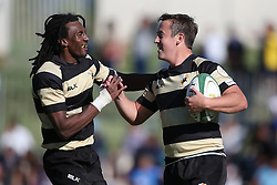 Theuns Kotze of Boland is congratulated by Daniel Demas of Boland for scoring during the Currie Cup premier division match between the Boland Cavaliers and The Blue Bulls held at Boland Stadium, Wellington, South Africa on the 23rd September 2016<br /> <br /> Photo by:   Shaun Roy/ Real Time Images