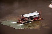 Gold Dredger<br /> Mazaruni River<br /> GUYANA<br /> South America<br /> Longest river in Guyana