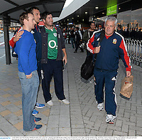 3 June 2013; Sam Warburton, British & Irish Lions, poses for a photograph with Paudie Collins, from Freemount, Cork, right, and David McCarthy, Kanturk, Cork, as head coach Warren Gatland walks past at Perth International Airport upon the squad's arrival in Australia for the British & Irish Lions Tour 2013. Perth International Airport, Perth, Australia. Picture credit: Stephen McCarthy / SPORTSFILE