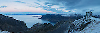 Panoramic view from Persatind, Gimsøy, Lofoten Islands, Norway