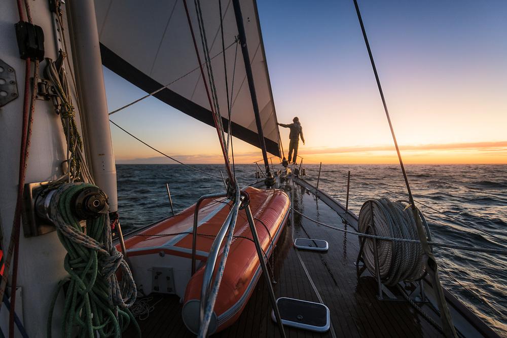 Sailing into the sunset in Atlantic Ocean