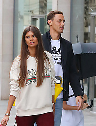 Manchester United's Nemanja Matic and wife Aleksandra Pavic are seen out and about in Manchester city centre.