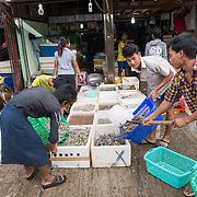 A shop at the fish and flower market in Mandalay, Myanmar (Burma).