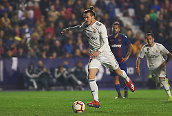 February 24, 2019 - Valencia, Valencia, Spain - Gareth Bale of Real Madrid scores a penalty during the La Liga match between Levante and Real Madrid at Estadio Ciutat de Valencia on February 24, 2019 in Valencia, Spain. (Credit Image: © AFP7 via ZUMA Wire)
