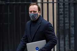 © Licensed to London News Pictures. 03/03/2021. LONDON, UK.  London, UK.  3 March 2021.  Matt Hancock, Health Secretary, is seen in Downing Street.  Rishi Sunak, Chancellor of the Exchequer, will deliver his Budget speech in the House of Commons later.  Photo credit: Stephen Chung/LNP
