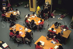 Stock photo of a class of young students studying in the library