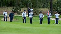 HILVERSUM -  Het Nederlands team. Jerry Ji (Neth) (r)  wint zijn partij na 19 holes., tegen Oostenrijk, Nederland wordt vijfde.     ELTK Golf 2020 The Dutch Golf Federation (NGF), The European Golf Federation (EGA) and the Hilversumsche Golf Club will organize Team European Championships for men.  COPYRIGHT KOEN SUYK