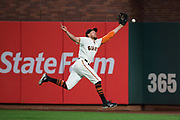 San Francisco Giants right fielder Hunter Pence (8) misses a fly ball during a game against the Los Angeles Dodgers at AT&T Park in San Francisco, California, on September 13, 2017. (Stan Olszewski/Special to S.F. Examiner)