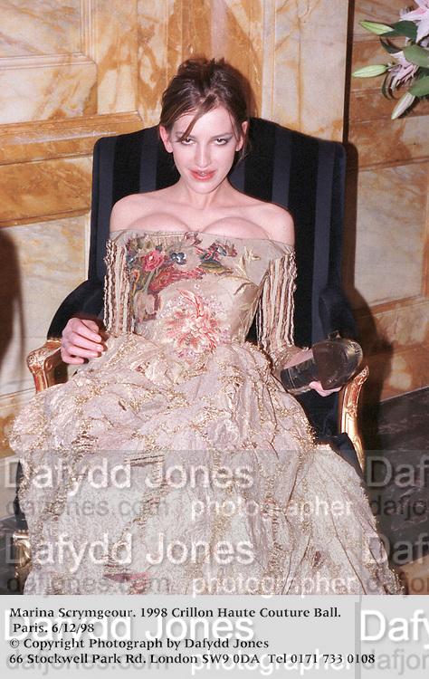 Marina Scrymgeour. 1998 Crillon Haute Couture Ball. Paris. 6/12/98<br />© Copyright Photograph by Dafydd Jones<br />66 Stockwell Park Rd. London SW9 0DA<br />Tel 0171 733 0108