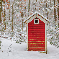 Outhouse behind The Little Red Schoolhouse historical landmark at the historic Longfellow's Wayside Inn Historic District in Sudbury Massachusetts covered in a snowy winter wonderland.<br /> <br /> New England country photography images of the Longfellow's Wayside Inn outhouse behind the Little Red Schoolhouse are available as museum quality photo, canvas, acrylic, wood or metal prints. Wall art prints may be framed and matted to the individual liking and interior design decoration needs:<br /> <br /> https://juergen-roth.pixels.com/featured/outhouse-behind-the-little-red-schoolhouse-juergen-roth.html<br /> <br /> Good light and happy photo making!<br /> <br /> My best,<br /> <br /> Juergen