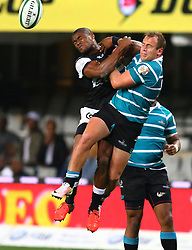 S'bu Sithole of the sharks and AJ Coertzen go for the high ball during the Currie Cup match between the The Sharks and The Griquas held at King's Park, Durban, South Africa on the 12th August 2016<br /> <br /> Photo by:   Anesh Debiky / Real Time Images