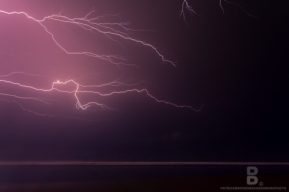 An incredibly strong, powerful and close lightning storm caught over the Pacific Ocean of El Salvador.