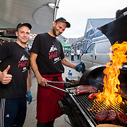 14.06.2018.             <br /> Limerick Food Group hosted the Urban Food Fest street food evening in the Milk Market on Thursday June 14th with a 'Summer Fiesta' theme in one big Limerick city summer party.<br /> <br /> Pictured at the event were, Marek Knopf and Rafal Kucharski, Hells BBQ. Picture: Alan Place