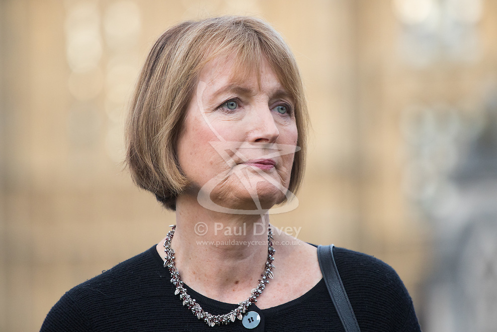 Parliament Square, Westminster, London, June 17th 2016. Following the murder of Jo Cox MP a vigil is held as friends and members of the public lay flowers, light candles and leave notes of condolence and love in Parliament Square, opposite the House of Commons. PICTURED: Harriet Harman