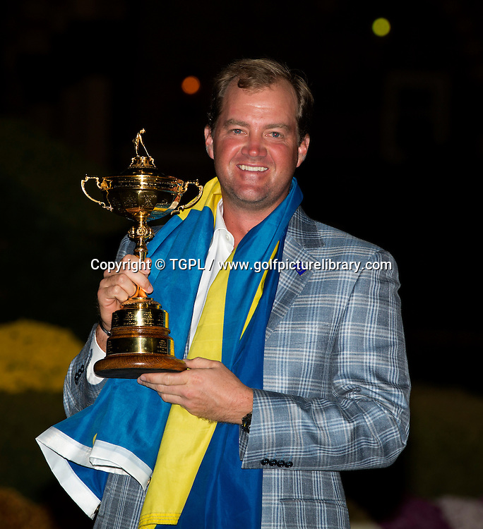 Peter HANSON (SWE) with the trophy during final day Singles,Ryder Cup Matches,Medinah CC,<br /> Medinah,Illinois,USA.