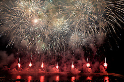 August 17, 2017 - Naples, Italy - A great show of fireworks under the stars awaits you at Acquamorta, Monte di Procida, Naples, on August 16th..For summer festivals, pyrotechnic fires are a constant, and so to celebrate the August and the feast of Our Lady of Assumption. The Marina di Monte di Procida will light up in a thousand colors with this great pyrotechnic show. (Credit Image: © Paola Visone/Pacific Press via ZUMA Wire)