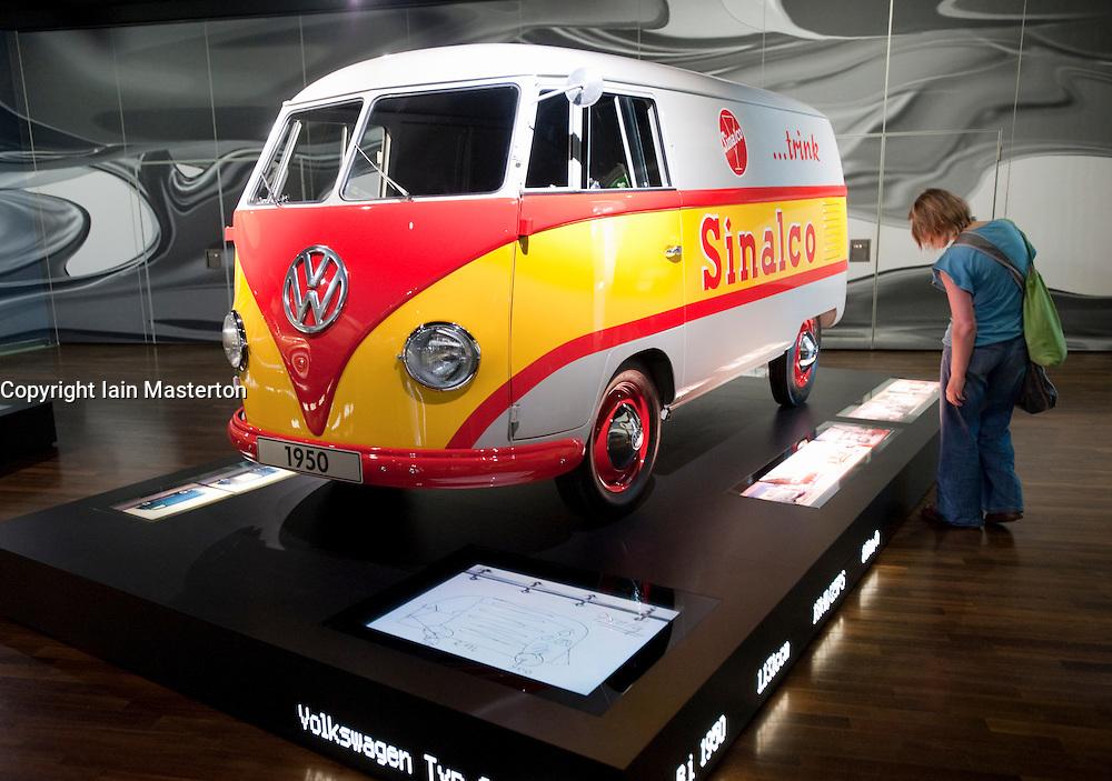 Historic Volkswagen van on display at Autostadt in Wolfsburg Germany