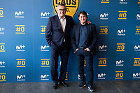 "Tv Hosts Michael Robinson and Raul Ruiz during the presentation of the new tv program #0 of Movistar+ ""Caos FC"" at Ciudad del Futbol of Las Rozas in Madrid. November 21, Spain. 2016. (ALTERPHOTOS/BorjaB.Hojas)"