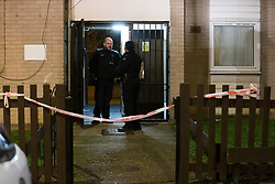 © Licensed to London News Pictures. 06/03/2019. London, UK.  Police at the crime scene in North Birkbeck Road in Leyton where a murder investigation has been launched after a man was stabbed this afternoon at around 16:26hrs.  Photo credit: Vickie Flores/LNP