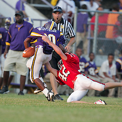26 August 2009: During the annual  Amite football Jamboree  featuring  middle schools from Amite, Loranger, and Sumner at Warrior Stadium in Amite, Louisiana.