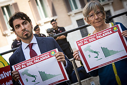 October 3, 2017 - Rome, Italy, Italy - The Green Party protests against the Law Falanga calls 'Blocks Demolitions' which is being debated in the Italian Parliament, in Piazza Montecitorio on October 03, 2017 in Rome, Italy. (Credit Image: © Andrea Ronchini/NurPhoto via ZUMA Press)