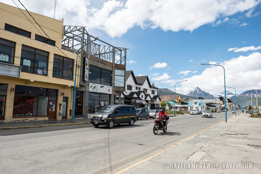 The main road running along the waterfront of Ushuaia, Argentina.