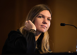October 20, 2018 - Kallang, SINGAPORE - Simona Halep of Romania talks to the media during the All Access Hour of the 2018 WTA Finals tennis tournament (Credit Image: © AFP7 via ZUMA Wire)