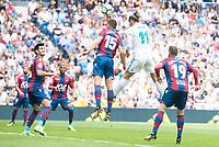 Real Madrid's Gareth Bale and Levante's Sergio Postigo during La Liga match between Real Madrid and Levante UD at Santiago Bernabeu Stadium in Madrid, Spain September 09, 2017. (ALTERPHOTOS/Borja B.Hojas)