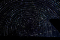 Startrail Looking North. Composite of images (22:20-23:19) taken with a Nikon D850 camera and 19 mm f/4 PC-E lens (ISO 200, 19 mm, f/4, 30 sec). Raw images processed with Capture One Pro and the composite created using Photoshop CC (scripts, statistics, maximum).