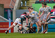 Leicester Tigers No.8 Jasper Wiese tackles Wasps Fly-half Charlie Atkinson during a Gallagher Premiership Round 10 Rugby Union match, Friday, Feb. 20, 2021, in Leicester, United Kingdom. (Steve Flynn/Image of Sport)