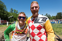 Father and Son! Dan (49) and Nick (23) both raced at the Motorcycle Hillclimbs that returned to the Gunstock Recreation Area in Gilford after a lapse of several years during Laconia Motorcycle Week, New Hampshire, USA. Wednesday June 14, 2017. Photography ©2017 Michael Lichter.