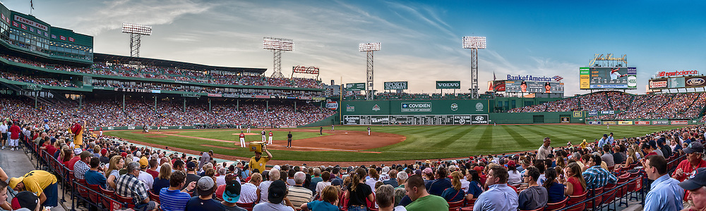[Note: This high dynamic range photo was created using a single exposure developed during post-processing.]  A panoramic view of Fenway Park during a game between the Minnesota Twins and Boston Red Sox on August 3, 2012 in Boston, Massachussetts.