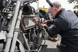 Paul Jung of Germany with his 1915 Harley-Davidson entry from W and W Cycles of Wurzburg after the hosted lunch in Alamosa during the Motorcycle Cannonball Race of the Century. Stage-10 ride from Pueblo, CO to Durango, CO. USA. Tuesday September 20, 2016. Photography ©2016 Michael Lichter.