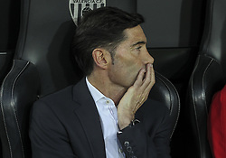 May 9, 2019 - Valencia, Valencia, Spain - Marcelino of Valencia in action during UEFA Europa League football match, between Valencia and Arsenal, May 09th, in Mestalla stadium in Valencia, Spain. (Credit Image: © AFP7 via ZUMA Wire)