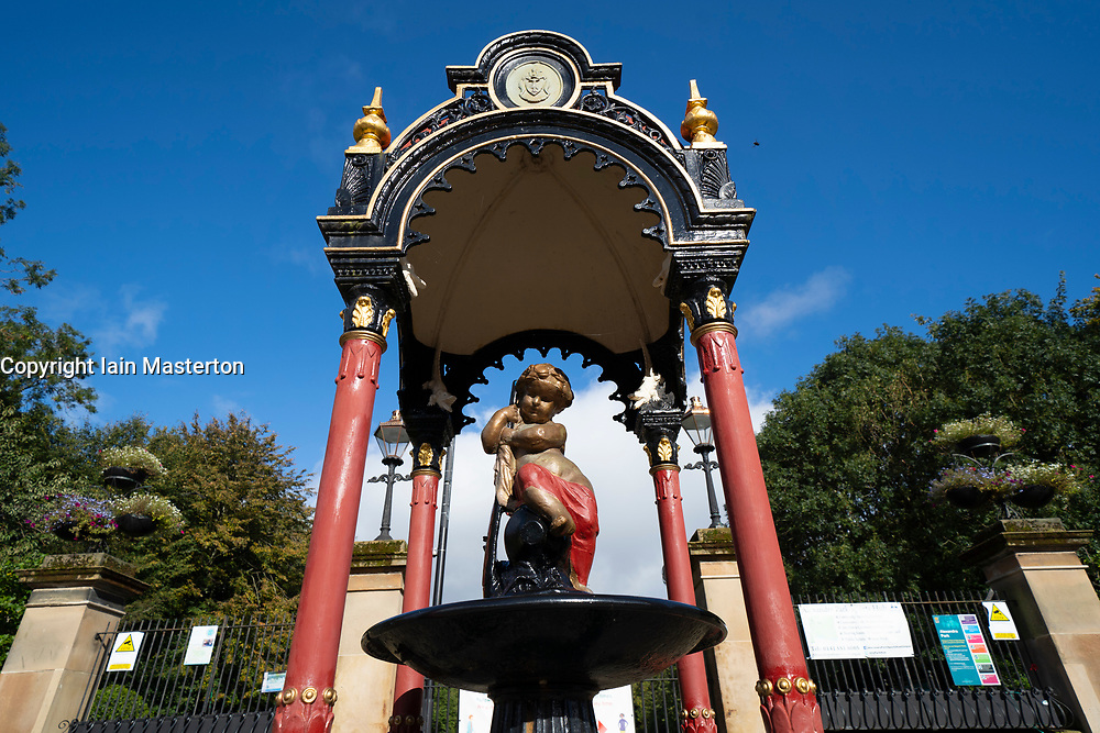 Glasgow, Scotland, UK. 7 October 2020. Time Out magazine has named Dennistoun in the East End of Glasgow as one of the world's coolest districts. Pictured;  Entrance to Alexandra Park . Iain Masterton/Alamy Live News