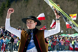 Kamil STOCH of Poland greeting fans during Flying Hill Individual Final Round at 4th day of FIS Ski Jumping World Cup Finals Planica 2011, on March 20, 2011, Planica, Slovenia. (Photo By Matic Klansek Velej / Sportida.com)