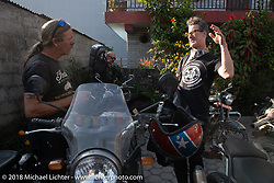 Round the World Doug Wothke and Corey Froschheuser arrive at our hotel after a long ride on day-3 of our Himalayan Heroes adventure riding from Chitwan to Pokhara, Nepal. Thursday, November 8, 2018. Photography ©2018 Michael Lichter.