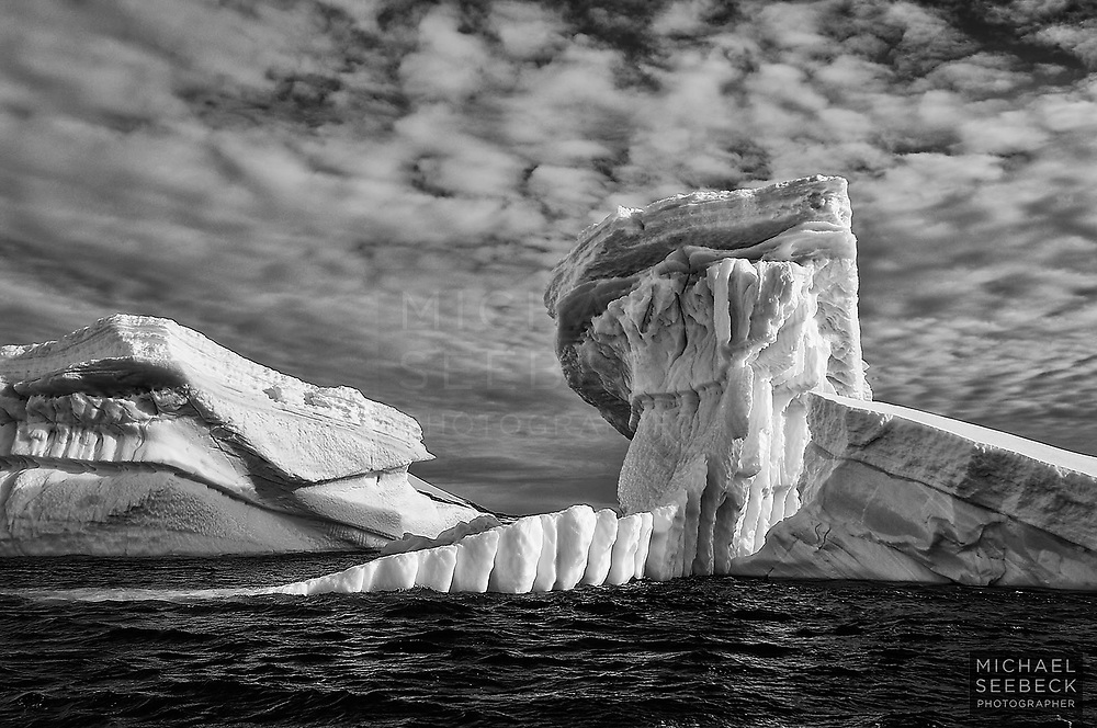 A dramatic monochrome photograph of icebergs in the Southern Ocean near the Antarctic Peninsula.<br /> <br /> Code: LTWP0021<br /> <br /> Limited Edition Print
