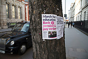 Protest marh poster at University College London in solidarity with university lecturers to protect their pensions on 22nd February 2018 in London, England, United Kingdom.