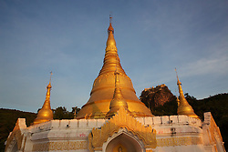 Pagoda With Mount Popa & Popa Taungkalat Monastery In The Background