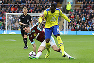 Michael Keane of Burnley looks to tackle Romelu Lukaku of Everton. Premier League match, Burnley v Everton at Turf Moor in Burnley , Lancs on Saturday 22nd October 2016.<br /> pic by Chris Stading, Andrew Orchard sports photography.