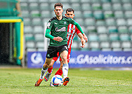 Plymouth Argyle Forward Ryan Hardie (9) shields the ball from Sunderland Defender Bailey Wright (5)  during the EFL Sky Bet League 1 match between Plymouth Argyle and Sunderland at Home Park, Plymouth, England on 1 May 2021.