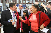 Leader of the British National Party Nick Griffin is confronted by a woman when he is out campaigning in the constituency of Barking and Dagenham.