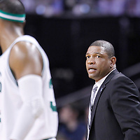 01 April 2012: Boston Celtics head coach Doc Rivers is seen during the Boston Celtics 91-72 victory over the Miami Heat at the TD Banknorth Garden, Boston, Massachusetts, USA. NOTE TO USER: User expressly acknowledges and agrees that, by downloading and or using this photograph, User is consenting to the terms and conditions of the Getty Images License Agreement. Mandatory Credit: 2012 NBAE (Photo by Chris Elise/NBAE via Getty Images)