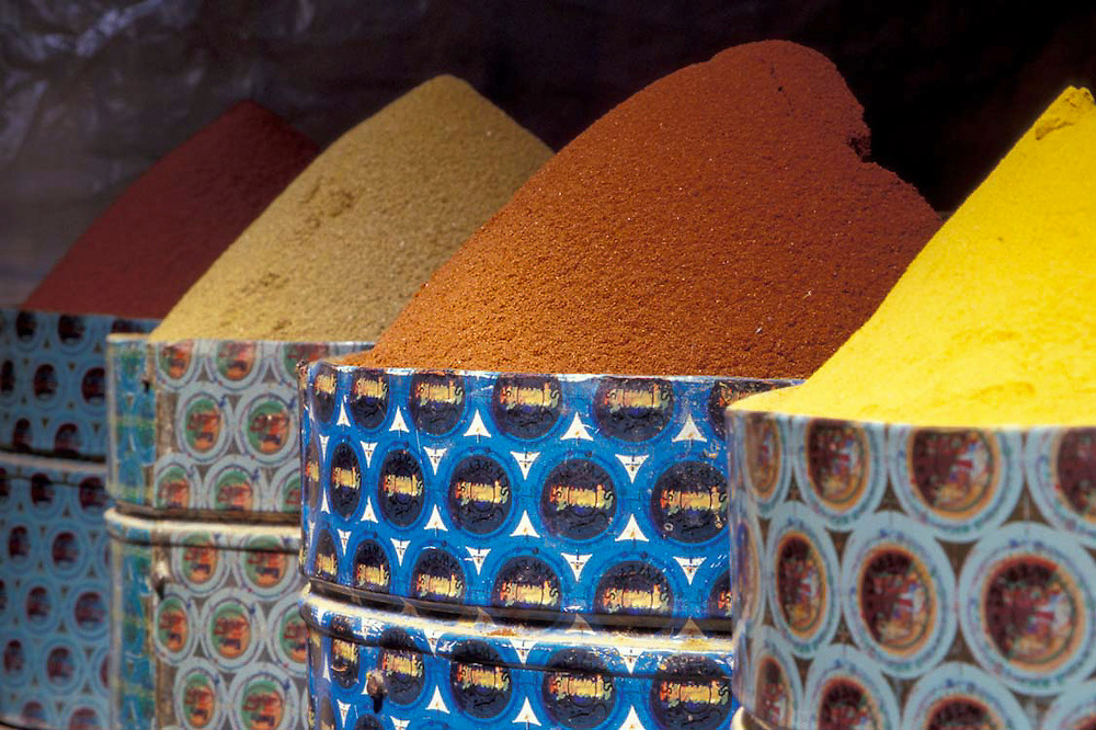 Africa, Morocco, Taroudannt<br /> Spices for sale in a market